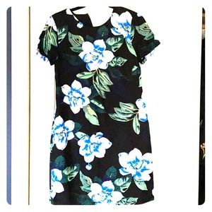 Black floral shift style mini